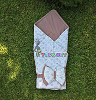 """Конверт-плед для новорожденных на синтепоне """"Звездочка"""" беж-коричневый"""