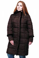 Женская зимняя куртка с капюшоном, хорошая цена, фабрика Харьков, Анеля, в цветах, 56