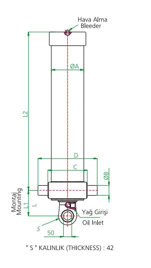 Гидроцилиндр 3-х штоковый (длина 1 штока 1433 мм)тип А - Гидролидер Гидравлика - Установка гидравлического оборудования, комплекты гидравлики в Киеве