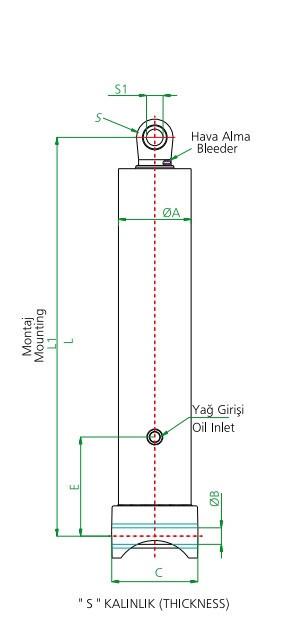 Гидроцилиндр 4-х штоковый (длина 1 штока 1486 мм)тип E - Гидролидер Гидравлика - Установка гидравлического оборудования, комплекты гидравлики в Киеве