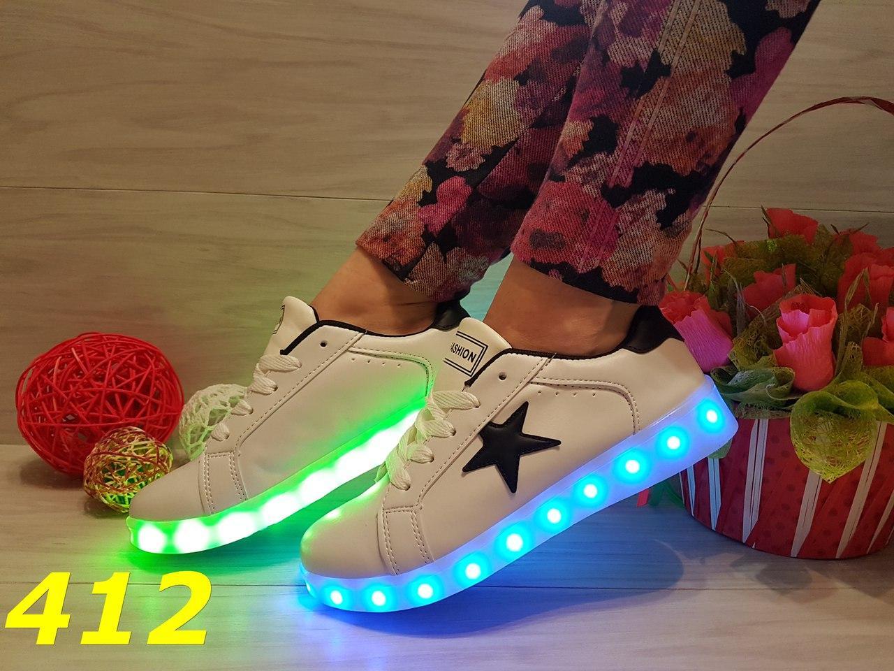 Кроссовки женские со светящей LED подошвой зарядка USB кабелем белые