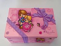 """Музыкальная шкатулка """" Romantic """"с фоторамкой и балериной розового  цвета"""