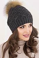 Зимние вязаные шапки с помпоном Жозель