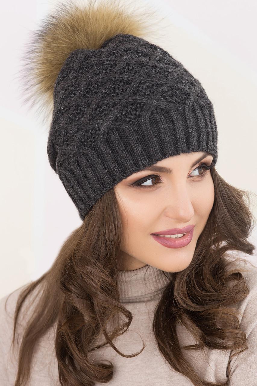 Зимние вязаные шапки с помпоном Жозель: продажа, цена в ...