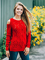 Модный женский вязаный красный свитер с открытыми плечами р.42-48