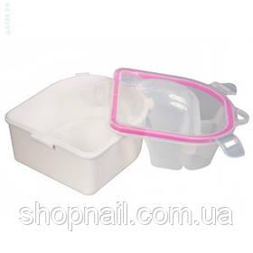 Ванночка для маникюра с крышкой, розовая