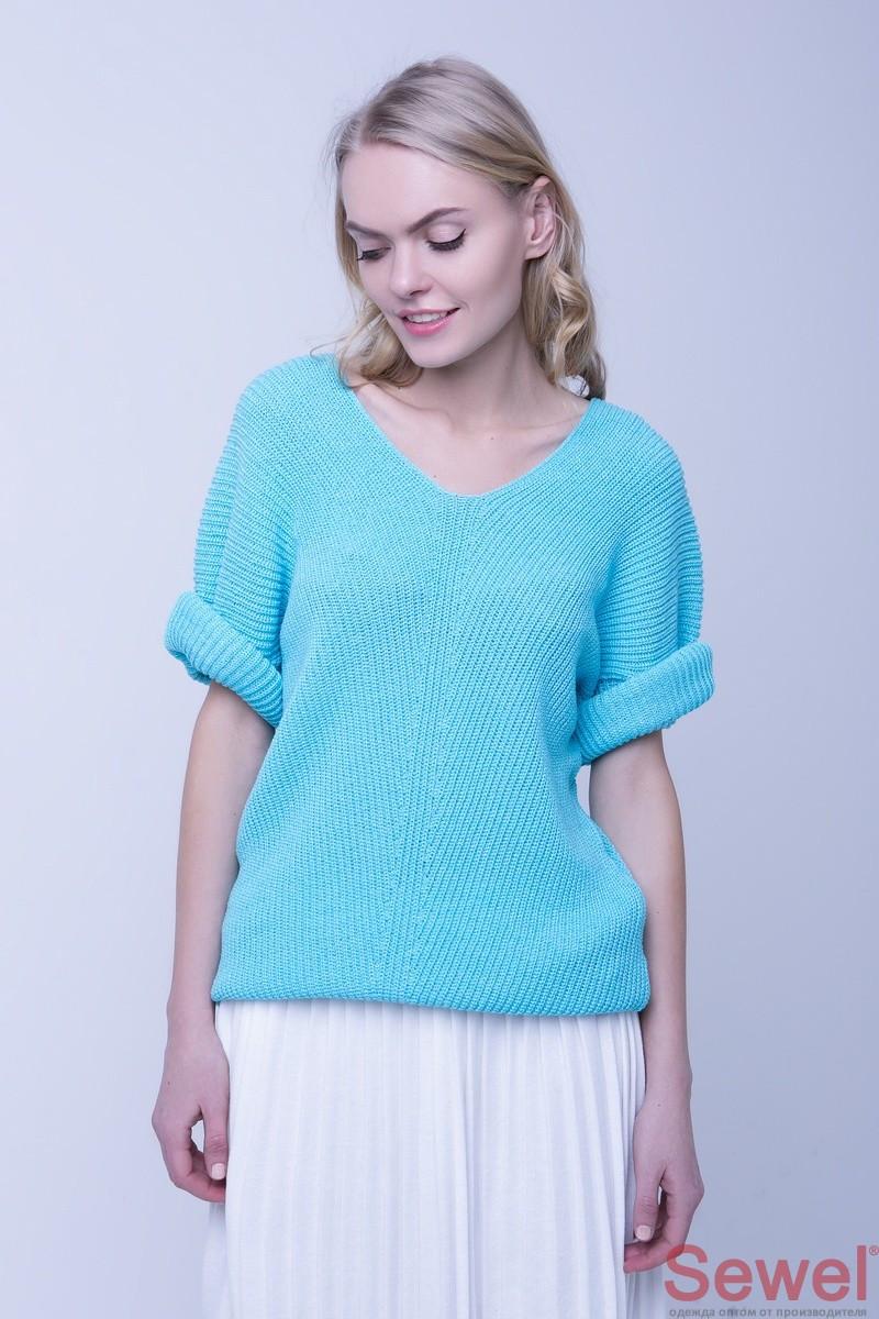 Свободный женский вязаный свитер