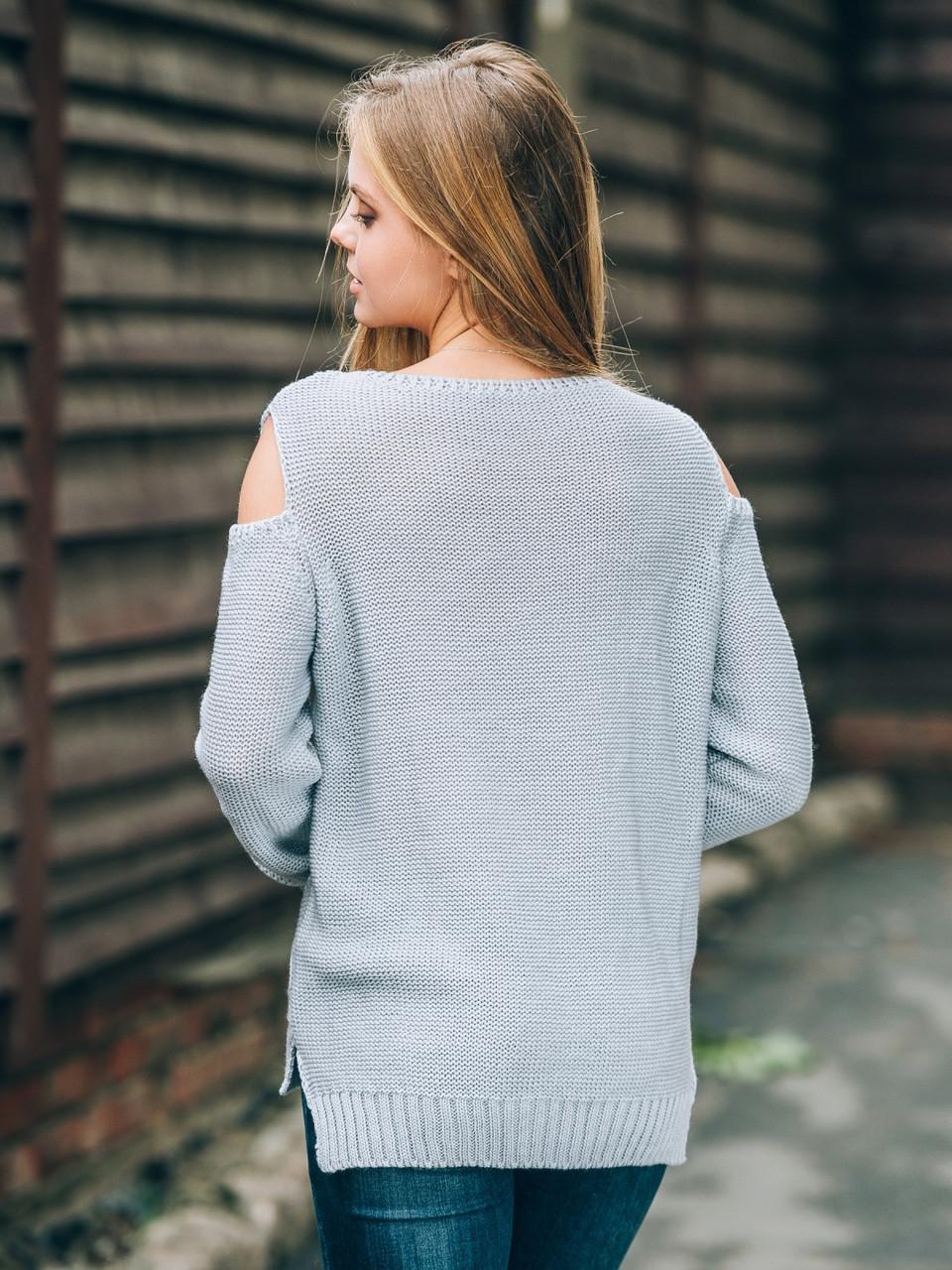 15727c1e633 Удобный женский серый свитер с открытыми плечами р.42-48  продажа ...