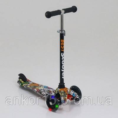 Самокат детский Best Scooter 1285,  трех колесный. PU, светятся. Графический рисунок