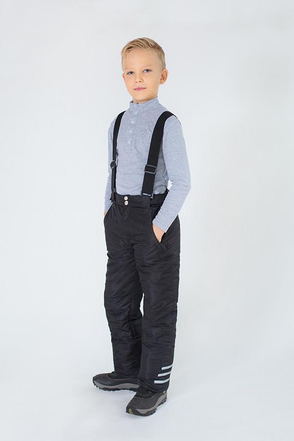 Зимние брюки на бретелях (черные) 110-134 см