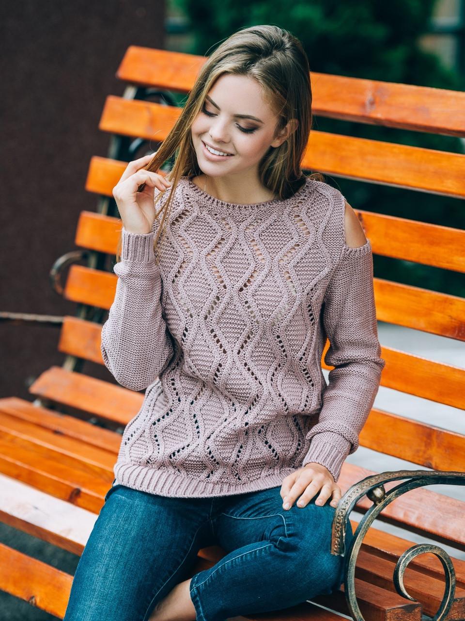 3d2a78cab8a Элегантный женский серый свитер с открытыми плечами р.42-48  продажа ...