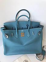 Шикарная женская сумка Гермес Биркин  35 см голубая