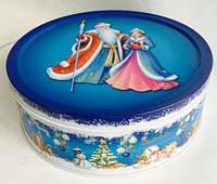 Новогодняя коробка  с крышкой из жести, Дед Мороз и Снегурочка, 19х6,6 см, Новогодняя упаковка, Днепр