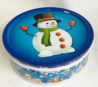 Новогодняя коробка с крышкой из жести 19х6,6 см,  Снеговик, Новогодняя упаковка, Днепр