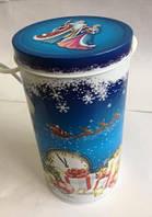 Новогодняя коробка с крышкой из жести D10х19 см, Дед Мороз и Снегурочка, Новогодняя упаковка, Днепр