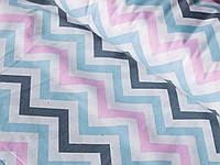 Ткань для детского постельного белья, поплин Зигзаги трехцветные розовые