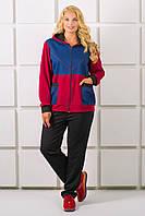Женский спортивный костюм с капюшоном большого размера Лакри, цвет бордо размер 56,60