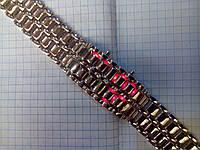 Часы Iron Samurai (Железный самурай) 115050 серебристые с красной подсветкой мужские наручные, фото 1