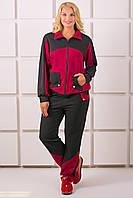 Женский спортивный костюм на осень больших размеров Бонита, цвет бордо размер 54-64