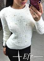 Женский стильный свитер кофта с бусинками