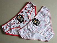 Хлопковые женские трусики Бантики р-р 44/46. Бледно-розовые