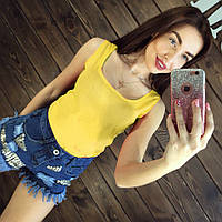 Блуза женская без рукавов / Майка шифоновая желтая