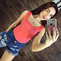 Блуза женская без рукавов / Майка шифоновая коралловая