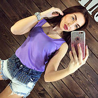 Блуза женская без рукавов / Майка шифоновая фиолетовая