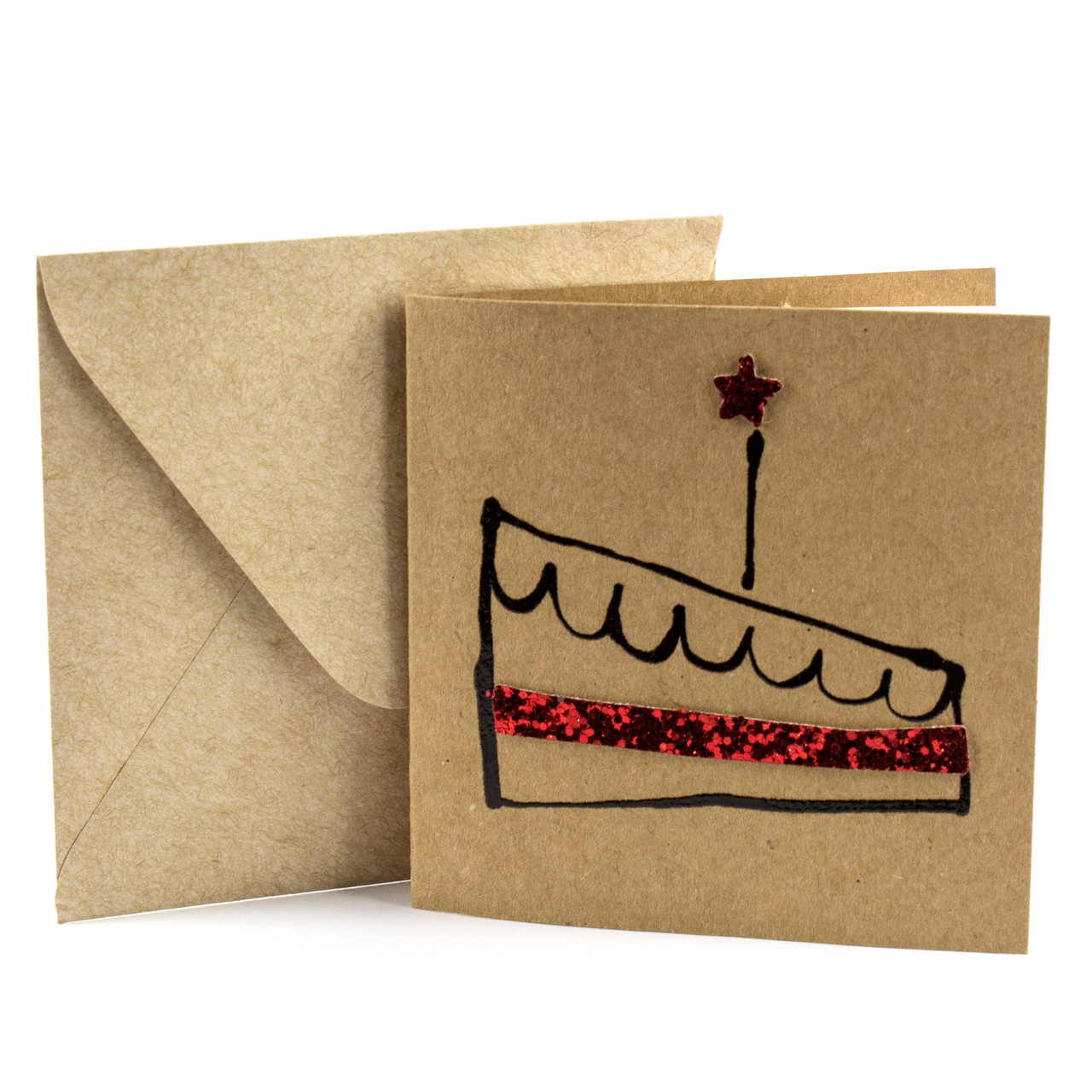 """Открытка """"Короблик"""" из крафт картона декорированная блестками + конверт"""