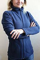 Женская флисовая кофта на молнии, синяя