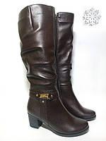 Коричневые женские сапоги кожаные зимние