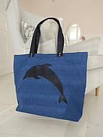 Синяя сумка женская с дельфином для покупок, торбочка, Тоут