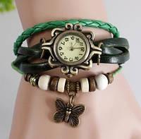 Часы браслет с бабочкой (зелёные)
