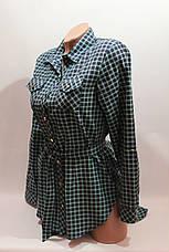 Женские рубашки в клетку с удлиненной спиной оптом VSA зелень+т.синий, фото 2