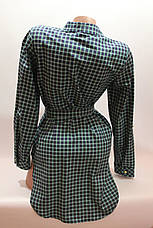 Женские рубашки в клетку с удлиненной спиной оптом VSA зелень+т.синий, фото 3