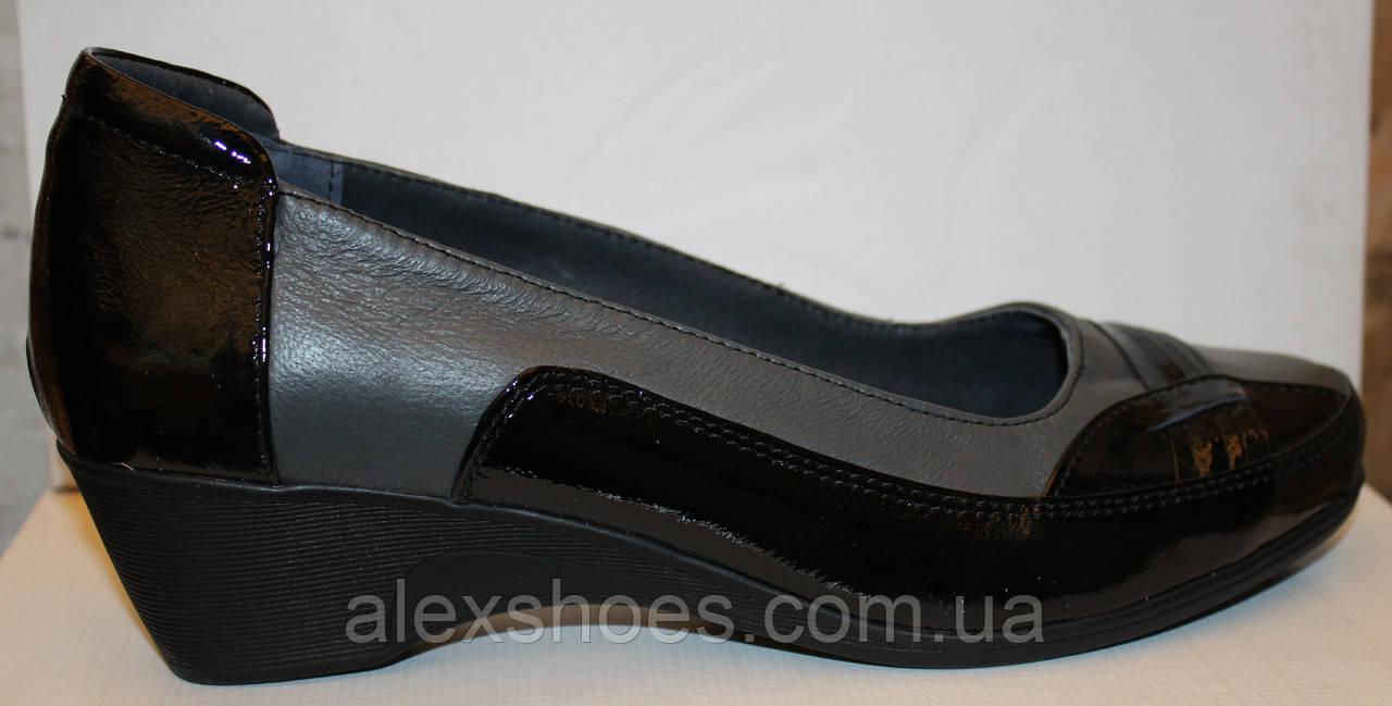 Туфли на танкетке большие размеры из натуральной кожи от производителя  модель В - 16Т 314c83f1119