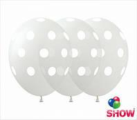 """Латексные воздушные шарики горох на прозрачном 12"""" (30 см)  ТМ Show"""