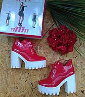 Ботинки тракторная подошва 777 красный 38р