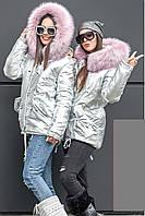 Яркая удлиненная зимняя куртка-парка Серебро