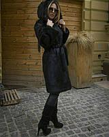 Шуба из нутрии (натуральный мех) с капюшоном