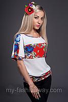 Стильная женская блуза из шифона из имитацией вышивки
