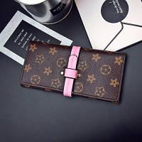 Женский кошелек в стиле Louis Vuitton большой с розовым ремешком