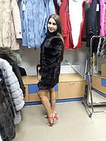 Шуба из норки цвет махагон