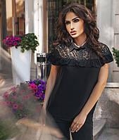 Блуза женская с кружевным гипюром. Чёрная, 2 цвета.