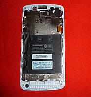 LCD модуль Lenovo A670t дисплей с сенсором и рамкой Original Б/У!!! белый