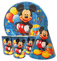 Набор для детского дня рождения Микки Маус синий. Тарелки -10 шт. Стаканчики - 10 шт. Колпачки - 10 шт.