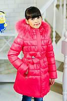 Куртка зимняя для девочки цветок на поясе цвет малиновый