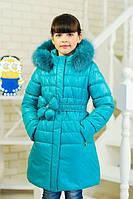 Куртка зимняя для девочки цветок на поясе цвет бирюза