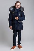 Зимняя куртка-парка для мальчика в темно-синем цвете