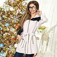 """Женское кашемировое демисезонное пальто """"Zelle"""" с капюшоном и кожаными вставками"""